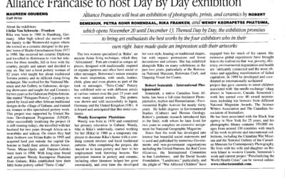 Alliance Francaise To Host Day By Day Exhibition – Maureen Odubeng – 13 November 2009